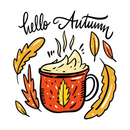 Autumn hot drink and leaves vector illustration. Isolated on white background.