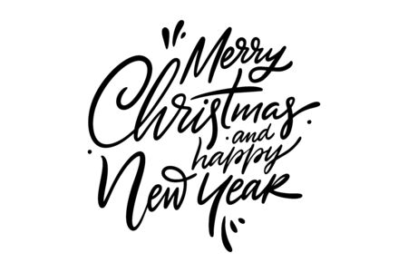 Merry Christmas and happy New Year hand drawn vector lettering.