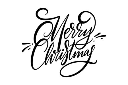Merry Christmas hand drawn vector lettering. Isolated on white background. Иллюстрация