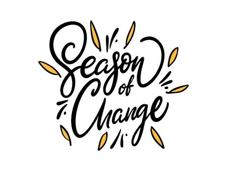 Season of Change hand drawn vector illustration. Isolated on white background. Cartoon style. Иллюстрация
