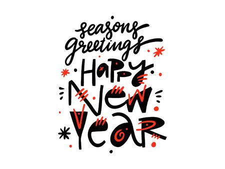 Happy New Year hand drawn vector lettering. Isolated on white background.