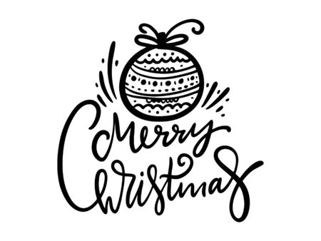 Merry Christmas hand drawn vector lettering in christmas tree toy. Isolated on white background.