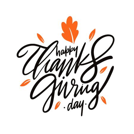 Happy Thanksgiving vector lettering. Isolated on white background.
