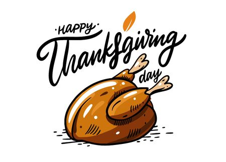 Turkey vector illustration and Happy Thanksgiving day lettering. Isolated on white background. Иллюстрация