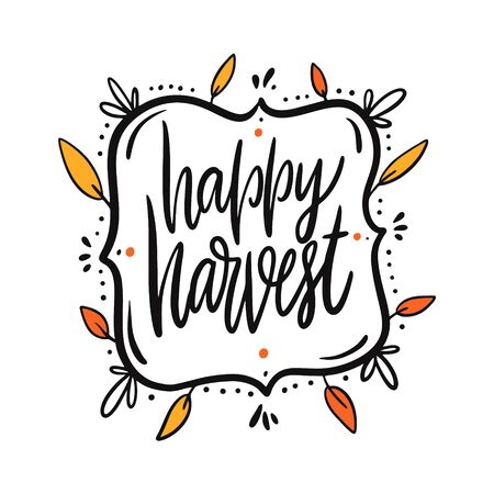 Happy Harvest. Thanksgiving holiday lettering in frame. Иллюстрация