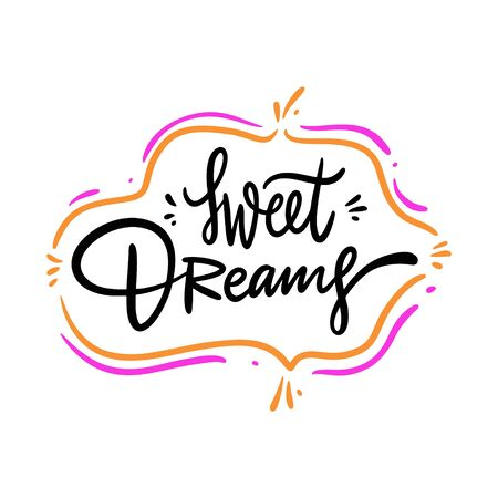 Sweet Dreams. Hand drawn vector lettering. Isolated on white background