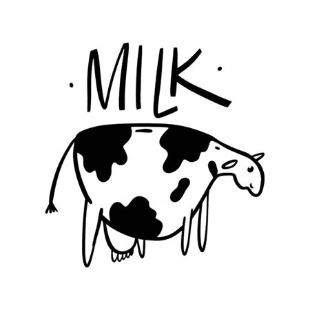 Cow Milk hand drawn cute vector illustration. Isolated on white backgroud.