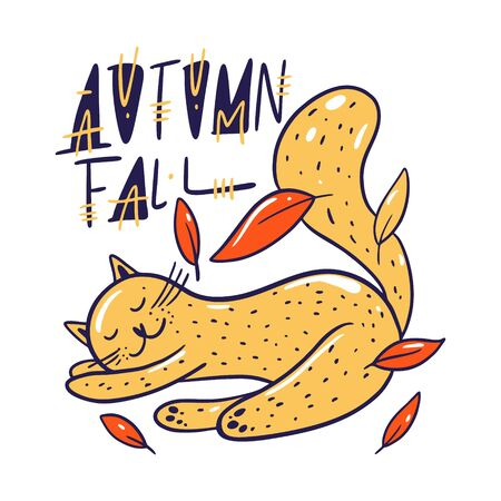 Cute cat sleep in leaves. Autumn fall lettering. Hand drawn vector illustration.