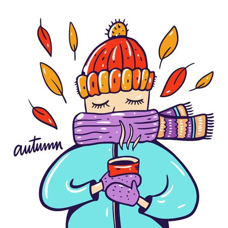 Autum season. Girl in scarf with red mug. Hand drawn vector illustration.