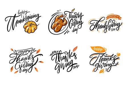 Happy Thanksgiving day lettering set 1. Hand drawn collection vector illustration. Isolated on white background.