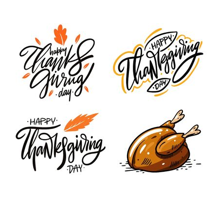 Happy Thanksgiving day lettering set 2. Hand drawn collection vector illustration. Isolated on white background.