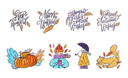 Autumn hand drawn lettering phrase and character set. Collection vector illustration. Иллюстрация