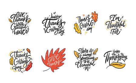 Autumn hand drawn lettering phrase set. Collection vector illustration. Isolated on white background.