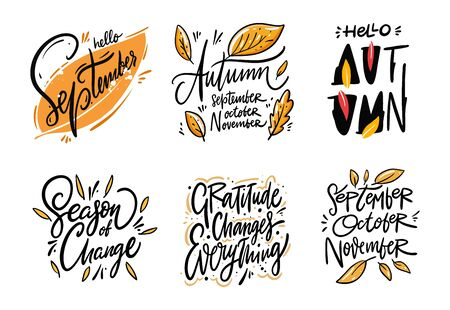 Season Autumn hand drawn lettering set. Collection vector illustration. Isolated on white background.