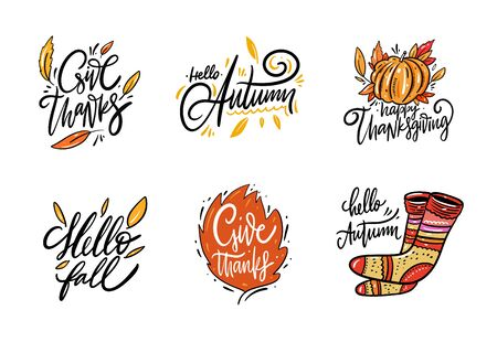 Autumn holiday hand drawn lettering set. Collection vector illustration. Isolated on white background.