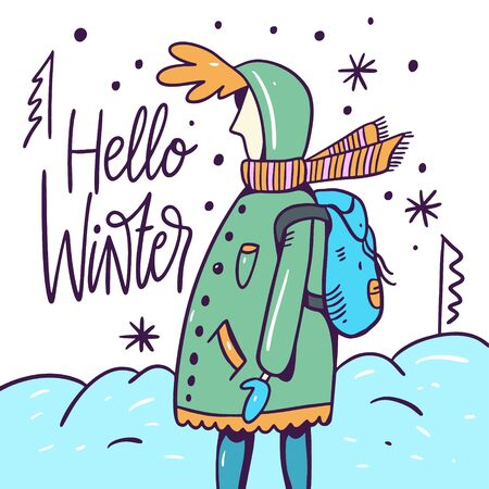 Child in a jacket with a backpack walks in winter. Cold Season. Hello Winter lettering. Character cartoon style.