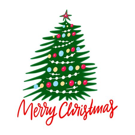 Christmas tree vector illustration and Merry Christmas lettering. Isolated on white background