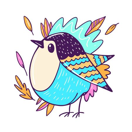 Bird in autumn leaves. Animal character in cartoon style.