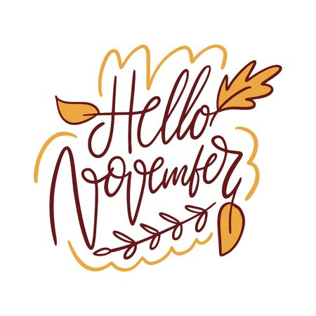 Hello November hand drawn vector lettering. Isolated on white background.
