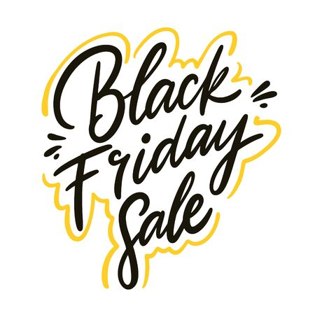 Black Friday. Holiday sign. Sale. Isolated on white background. Design for banner, poster, logo, sign sticker web blog