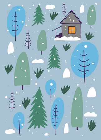 Winter forest and home. The Scandinavian style. Vector illustration. Isolated on grey background Иллюстрация
