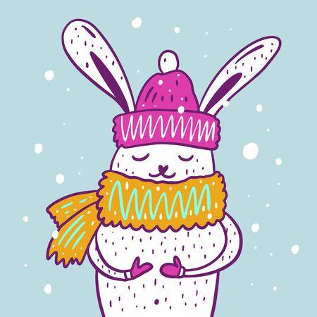 Winter cute hare portrait. Hand drawn vector illustration. Cartoon style.