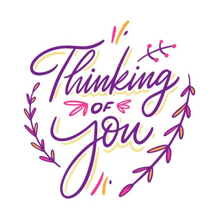 Thinking of you sign. Hand drawn vector illustration. Cartoon style.