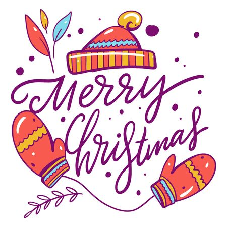 Mittens and hat illustration and merry christmas lettering. Cartoon style.