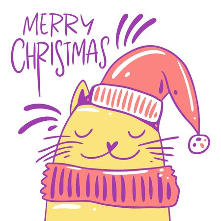 Cute cat in a hat and scarf. Character cartoon style. Hand drawn vector illustration.