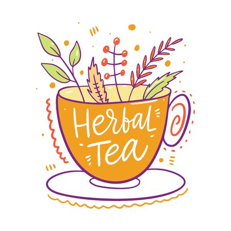 Herbal tea in yellow mug. Hand drawn vector illustration. Cartoon style.