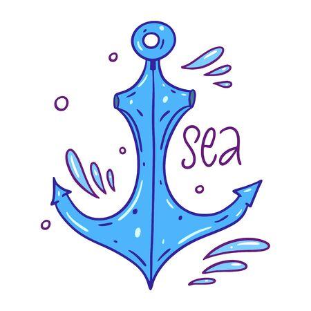 Anchor hand drawn vector illustration. Cartoon style.