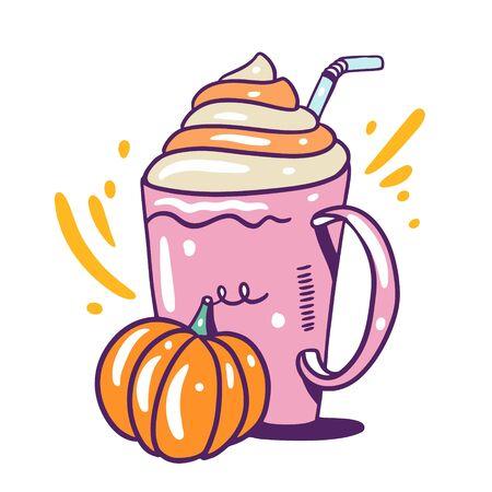 Kürbisgewürz Latte. Handgezeichnete Herbst Vektorgrafik. Isoliert auf weißem Hintergrund.
