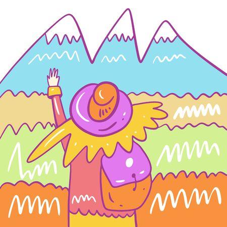 Girl with a backpack and a hat walks in the mountains. Hand drawn vector illustration. Isolated on white background. Cartoon style.