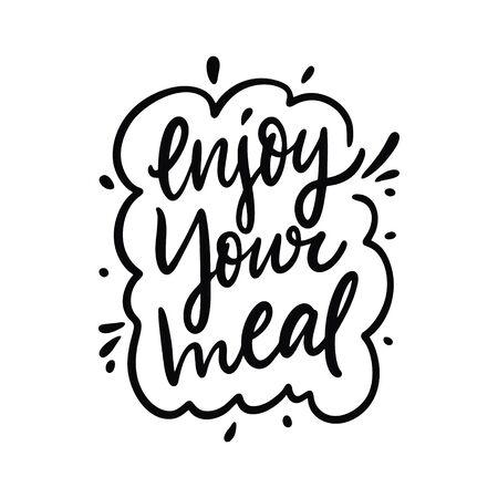 Disfrute de su comida. Frase de letras vectoriales dibujadas a mano. Estilo de dibujos animados. Ilustración de vector
