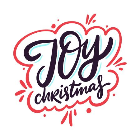 Joy Christmas. Hand drawn vector lettering phrase. Isolated on white background. 矢量图像