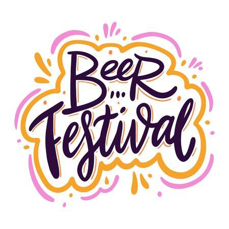 Lettrage de vecteur dessiné à la main pour le festival de la bière. Isolé sur fond blanc.