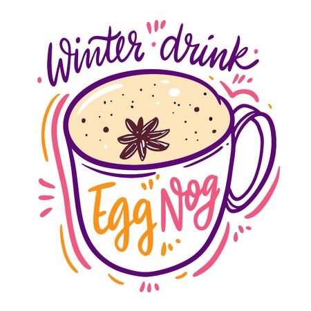 Cocktail Egg Nog in mug and spice. Hand drawn vector illustration. Isolated on white background.