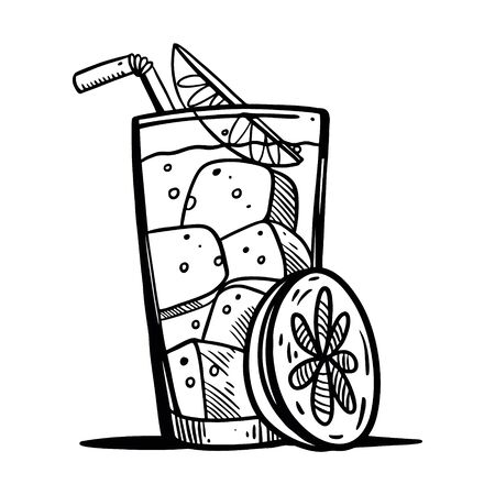 Cocktail glass with beverage black ink. Hand drawn vector lettering. Isolated on white background.