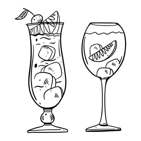 Cocktail glass with beverage. Cocktail Bar sign. Hand drawn vector lettering. Isolated on white background. Çizim