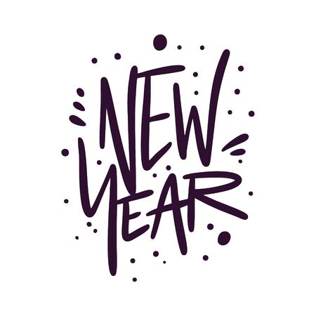 New Year sign black color. Hand drawn vector lettering and illustration.
