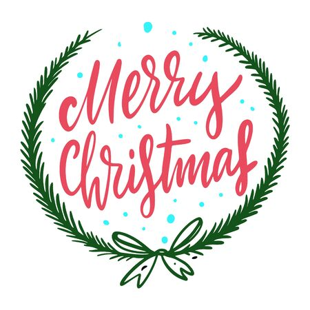 Merry Christmas sign calligraphy and green wreath. Hand drawn vector holiday lettering.