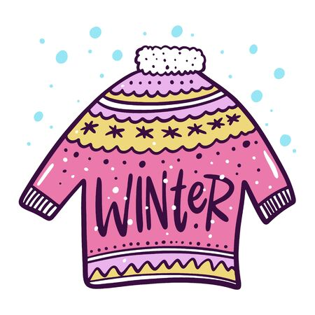 Sweater clothes winter in cartoon style. Hand drawn vector holiday card.  イラスト・ベクター素材