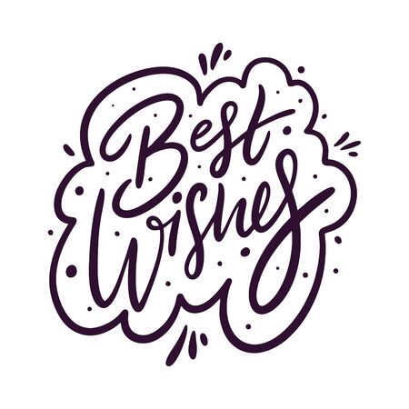 Best Wishes holiday sign black color. Hand drawn vector lettering.