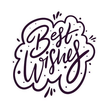 Best Wishes holiday sign color negro. Letras vectoriales dibujadas a mano.