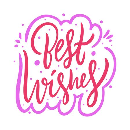 Best Wishes sign color. Hand drawn vector lettering.