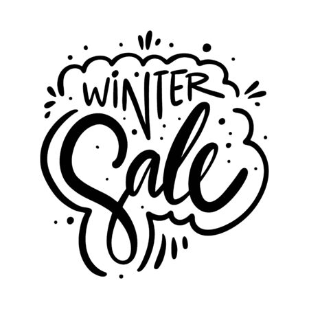 Winter sale holiday phrase. Hand drawn vector lettering. Black ink. Isolated on white background.