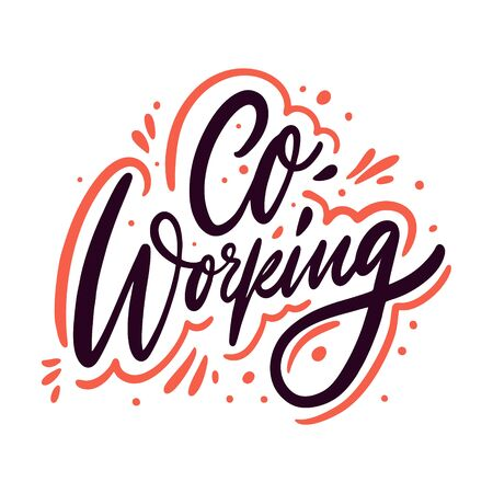 Co working calligraphy phrase. Black ink. Hand drawn vector lettering. 일러스트