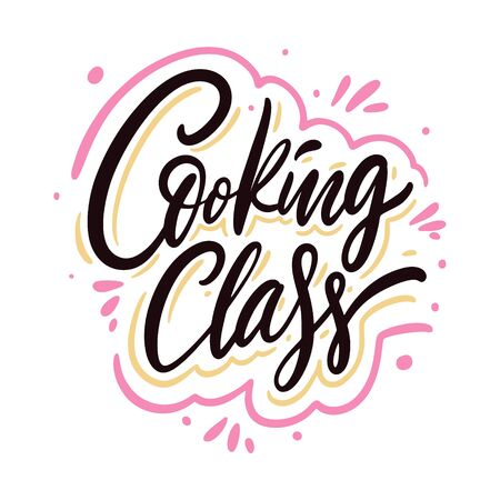 Cooking Class calligraphy phrase. Black ink. Hand drawn vector lettering. Illustration