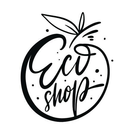 Eco Shop calligraphy sign. Black ink. Hand drawn vector lettering. Ecology design. Illusztráció