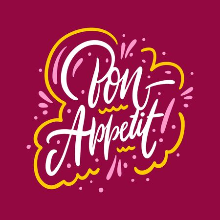 Bon Appetit. Hand drawn vector lettering phrase. Isolated on red background.